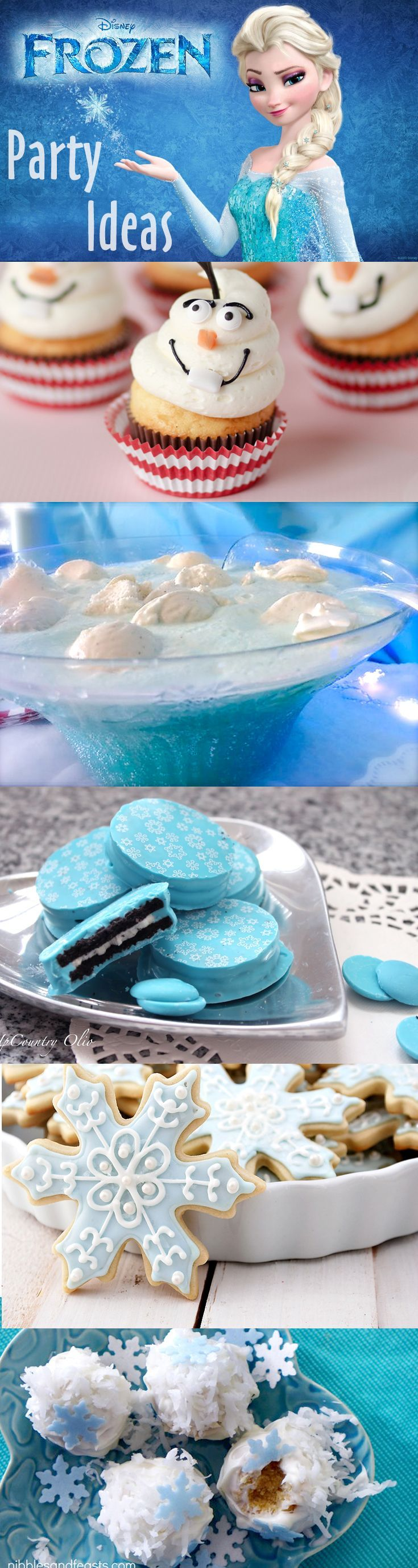 Throw a Disney Frozen Themed Party!  Ideas for your dessert and drink table like Olaf cupcakes, snowball punch, cake balls, and more!