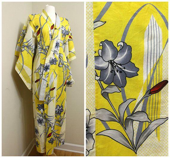 Japanese Vintage Yukata. Cotton Summer Robe in Yellow Retro