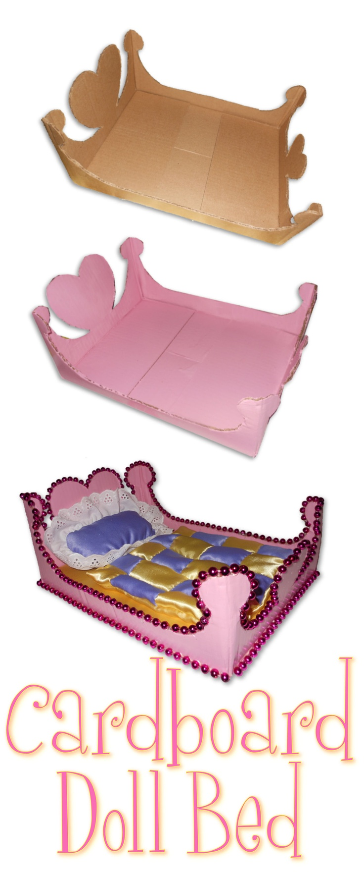 Cardboard Doll Bed- Made this for Aiyanna                                                                                                                                                                                 Mehr