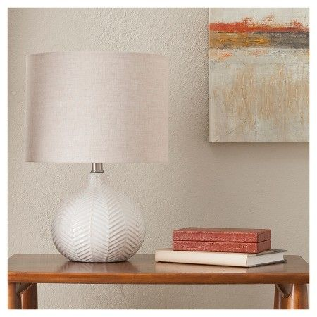 Herringbone ceramic table lamp cream threshold target