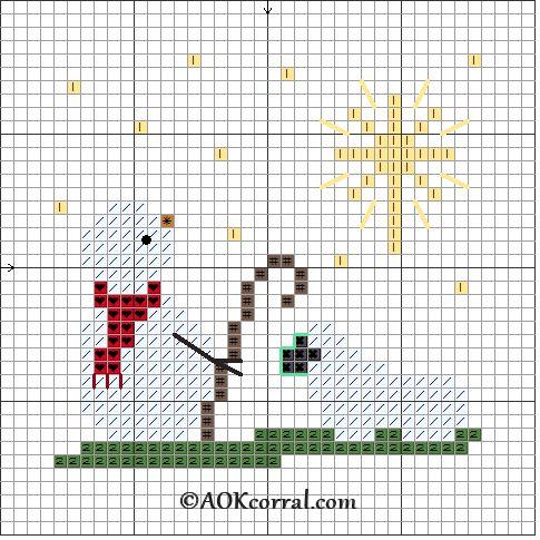 Cross Stitch Christmas Star Snowman