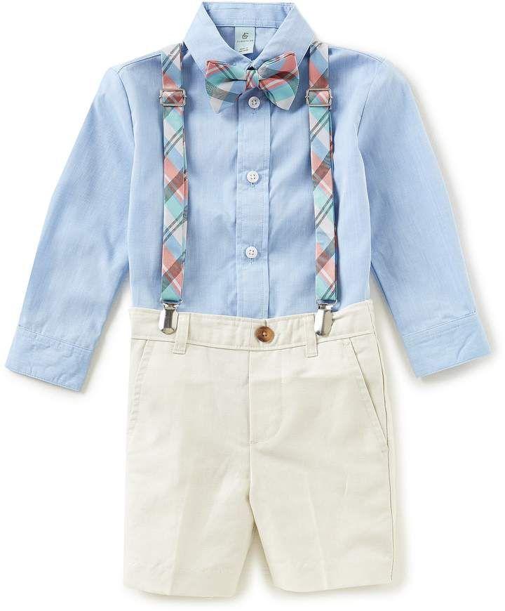 f1fd1412a8d1 Class Club Little Boys 2T-7 Button-Down Shirt, Shorts, Plaid Suspenders &  Bow Tie 4-Piece Set