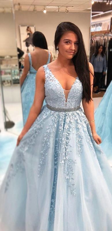 dcca497ed60d Light Blue Modest Prom Dress with Lace V Neck Tulle Ball Gown Ruffles Party  Dress