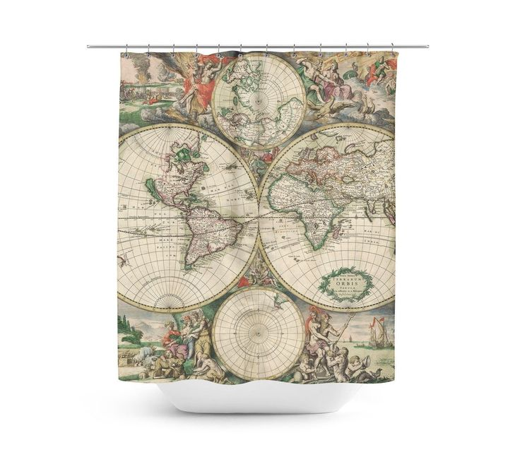 1689 antique world globe map shower curtain unique in 4 sizes for any bathroom word antique - Old world map shower curtain ...