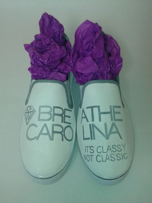 Custom Hand Painted Breathe Carolina slip ons-Its Classy Not Classic. $60.00, via Etsy.