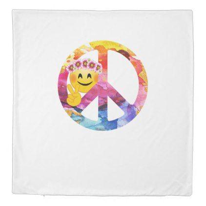 #Peace Sign Hippie Emoticon Watercolor Art Duvet Cover - #emoji #emojis #smiley #smilies