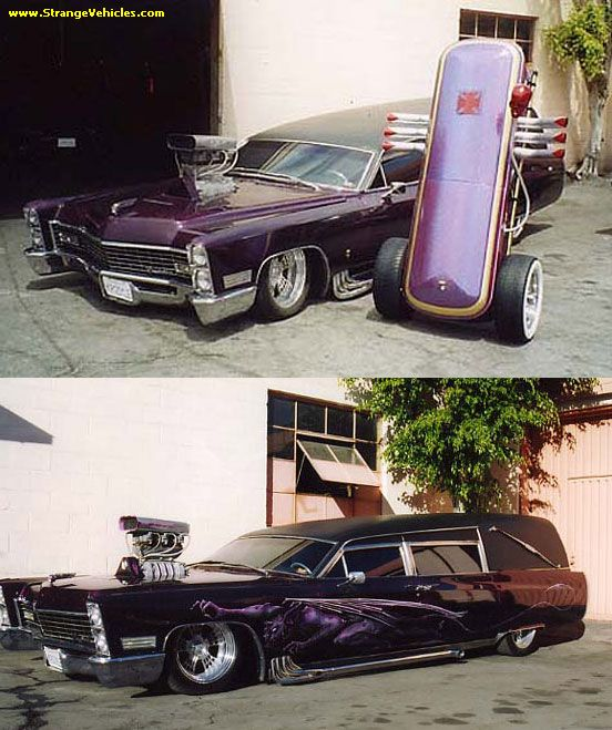 STRANGE BLOWN PURPLE CUSTOM HEARSE - WITH COFFIN TRAILER!