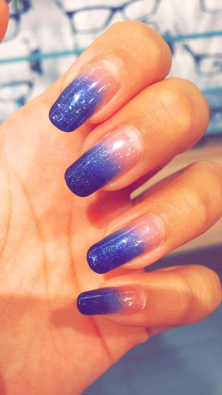 Blue ombre nails. Blue nails. Blue manicure.