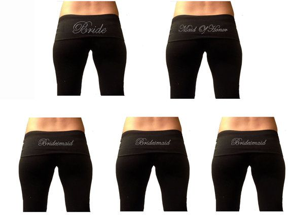 Custom Bridal Party Black Fold Over Yoga Pants by TheComfortBride, $82.99