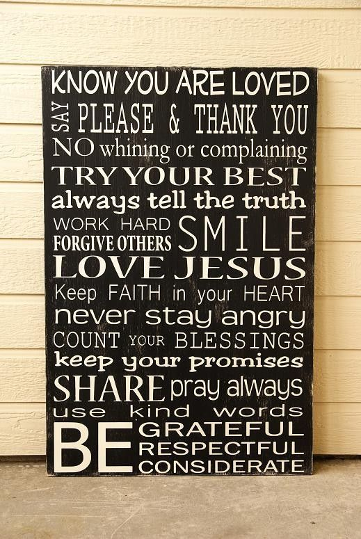 Custom Family Rules Sign  ExtraLarge  Distressed  by WordWhipped, $189.00