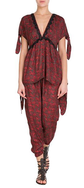 Anna Sui's relaxed harem pants are a smart choice for evening elegance, the rich red color and ornate print are perfect with a simple silk cami #Stylebop