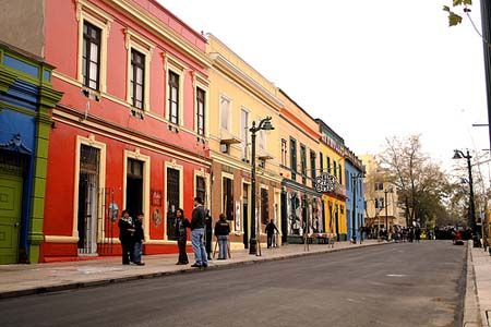 Barrio Bellavista near central Santiago, Chile - very picturesque neighborhood with shops & eateries