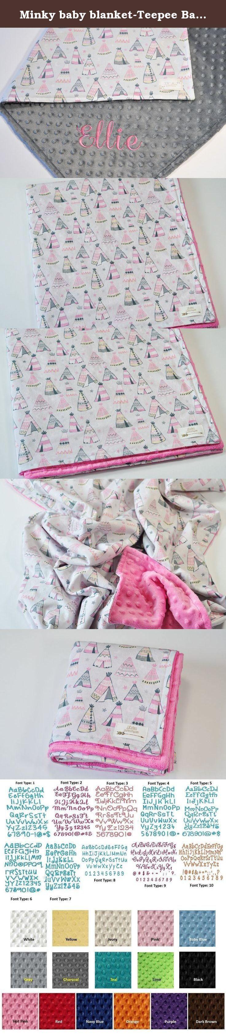 Minky baby blanket-Teepee Baby minky blanket-teepee minky blanket-teepee baby blanket-Baby shower gift-Tribal nursery-Indian nursery-Teepee nursery-Pink Teepee minky blanket-Girls blanket. Baby teepee minky baby blanket for baby shower gift. Newborn gift, swaddling, receiving, stroller, crib, infant, toddler, baby, car seat blanket. This gorgeous baby minky blanket is a great baby shower gift / newborn gift and is prefect for tribal nursery decor.This lovely minky baby blanket can be...