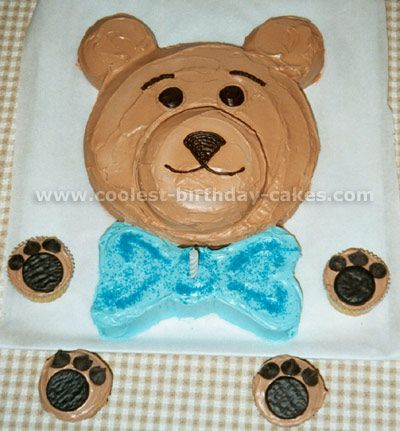 Teddy Bear Cake (create pink bow in hair instead of blue bow tie).