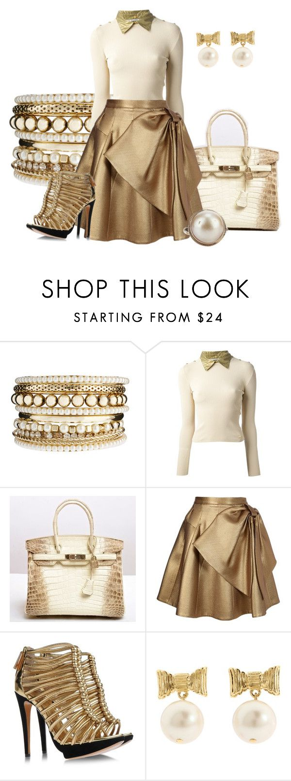 """Gold Collar"" by hope-houston ❤ liked on Polyvore featuring Oasis, Chanel, Hermès, Dice Kayek, Pollini and Kate Spade"