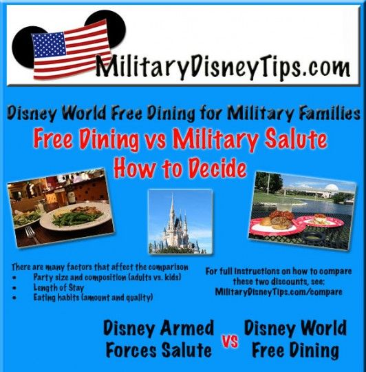 Disney World Free Dining for Military Families?  - Be sure to Compare Disney Free Dining to the Disney Armed Forces Salute