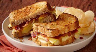 Maple Apple Grilled Cheese: Layer popular Vermont ingredients like sharp Cheddar cheese, apples, maple syrup and bacon in a grilled cheese sandwich for a fantastic sweet and savory flavor combination.