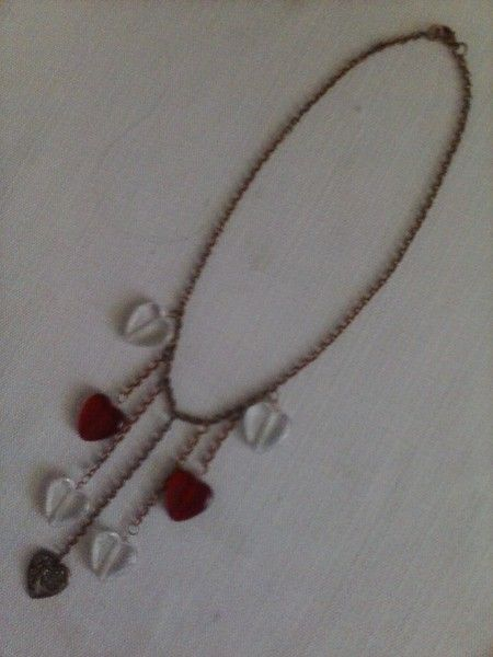 Hand Made Necklace With Copper Chain and Hearts. Sold