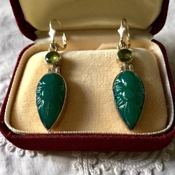 boucles d/'oreilles jade vert natural