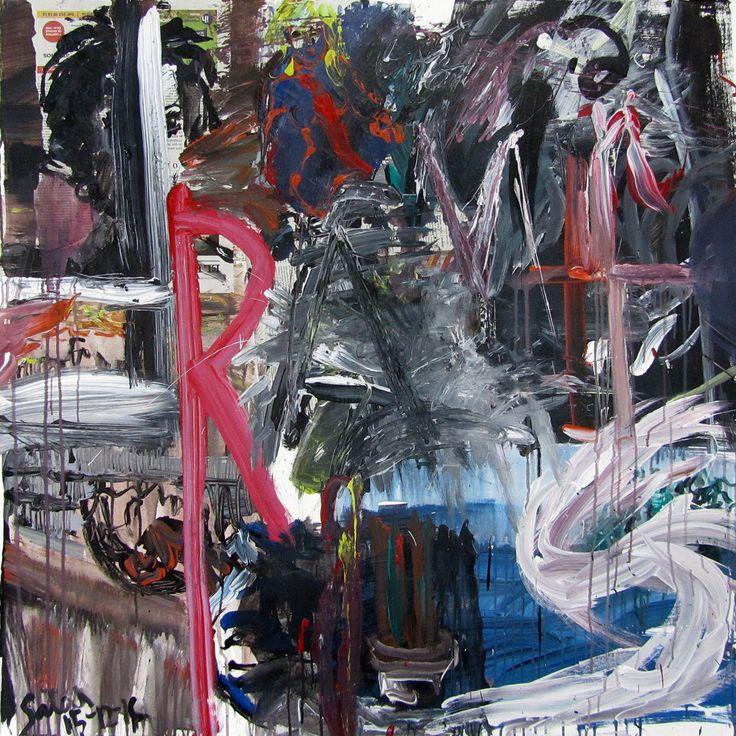 Fragments, 2016 Acrylic and collage with newspapers on canvas. 100 x 100 cm Fragmentos, 2016 Acrílico y collage con periódicos sobre lienzo. 100 x 100 cm