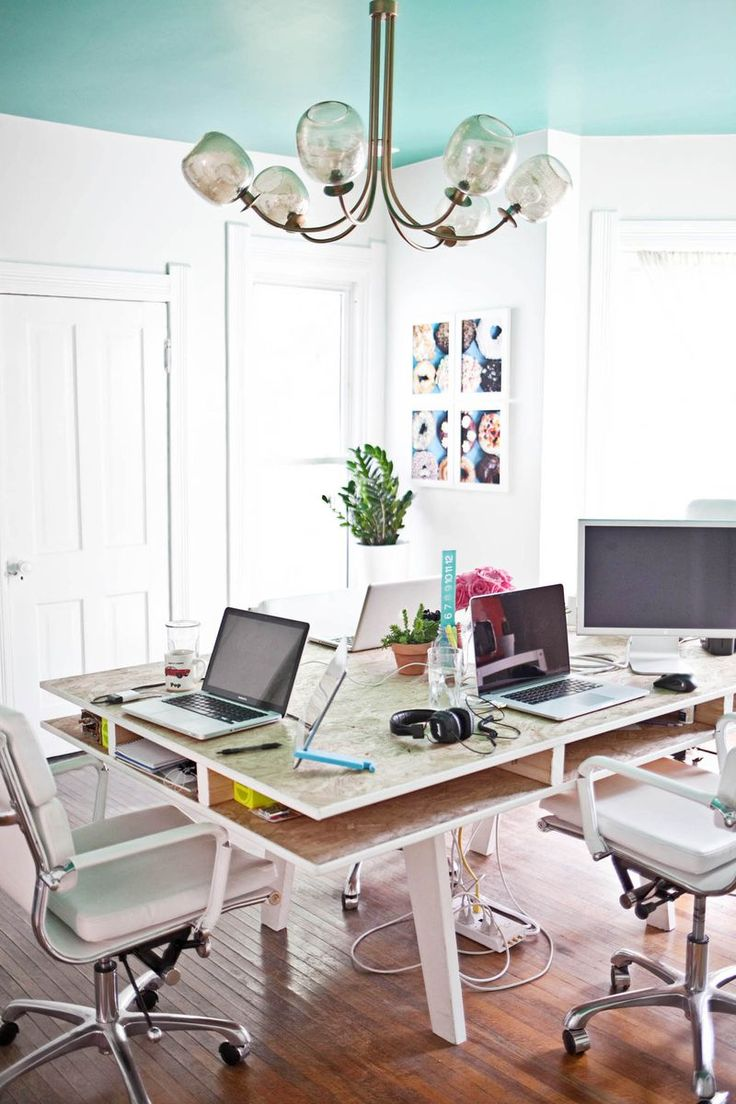 That table is the solution to all the ugly office furniture and space solution. A Beautiful Mess offices [ Wainscotingamerica.com ] #office #wainscoting #design