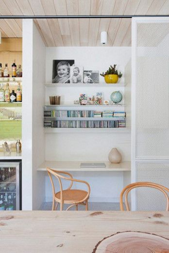 I would put all of my cookbooks here. Also a great kitchen nook idea for small projects or kids working on homework without taking over the dinner table. desiretoinspire.net - Brickhouse
