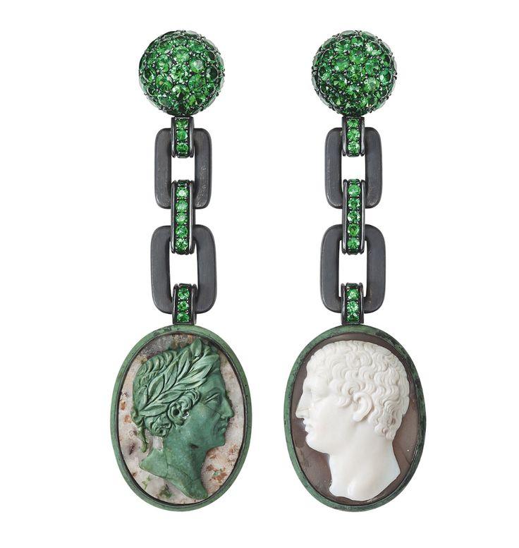 Hemmerle earrings - cameos, tsavorite garnets, silver, white gold...