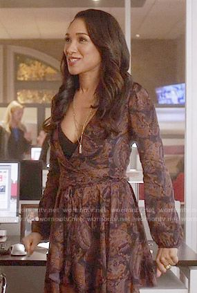 Iris's paisley print long sleeved dress on The Flash. Outfit Details: https://wornontv.net/56697/ #TheFlash