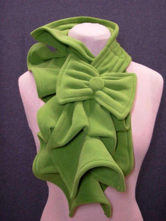 Ruffled Scarf -Micro Fleece MADE-TO-ORDER - Pea green, olive, slate blue