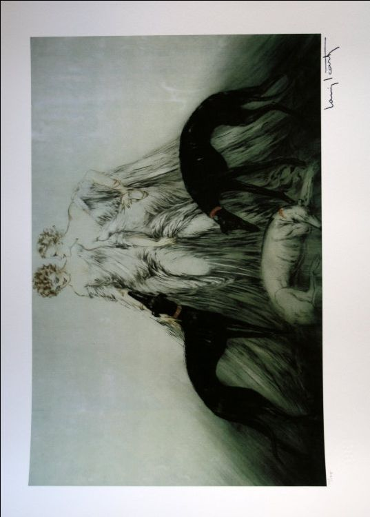 Louis ICART : Lévriers de course III, 1930 : Giclee in a limited edition