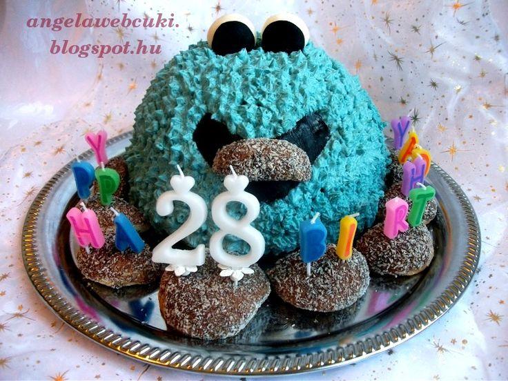 Citromhab krémes Cookie Monster torta http://angelawebcuki.blogspot.hu/2012/08/citromhab-kremes-cookie-torta.html