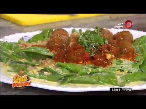 Receta de hoy: pasta verde rellena y albóndigas rellenas