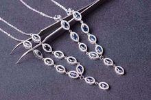 Natural azul zafiro Collar de piedra Natural Colgante de Piedras Preciosas Collar de 925 mujeres de Lujo de moda de la astilla ronda Joyería partido de las mujeres(China)
