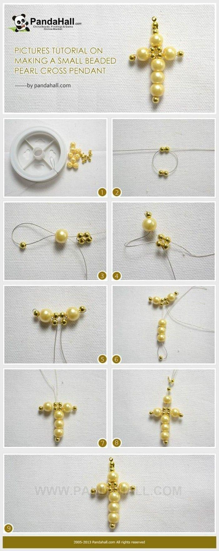 饰品DIY教程:制作一个小钉珠珍珠十字架吊坠