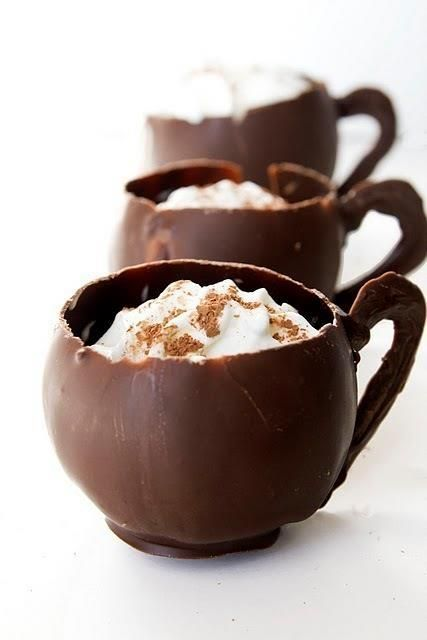 Ice cream in chocolate cups: Desserts, Idea, Chocolates Mugs, Chocolates Cups, Ice Cream, Hot Chocolates, Drinks, Icecream, Whipped Cream