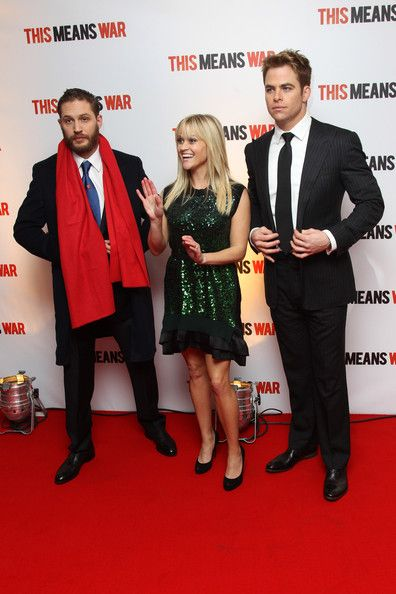 Chris Pine Photos Photos - (UK TABLOID NEWSPAPERS OUT) L-R Tom Hardy, Reese Witherspoon and Chris Pine attend the UK premiere of 'This Means War' at ODEON Kensington on January 30, 2012 in London, England. - This Means War - UK Premiere - Inside Arrivals