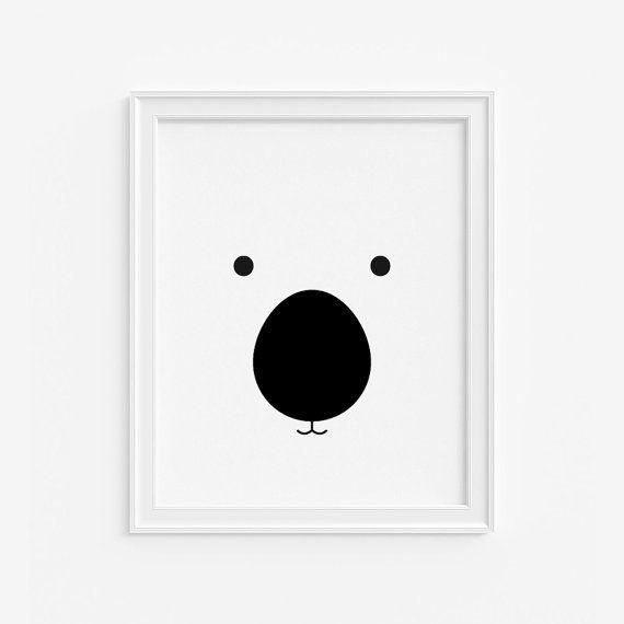 Orso asilo nido giclée print - bianco e nero per bambini arte parete arredamento camera per bambini-(A - 466)