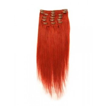 18 inches Red 7 pieces Clip In Human Hair Extension