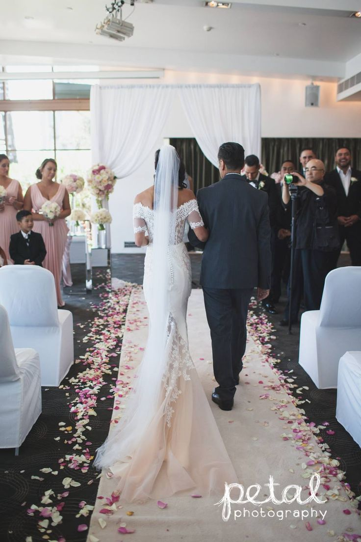 ceremony decorations included white carpet runner aisle rose petals and white chiffon canopy with fresh flowers - Carpet Canopy Decorating