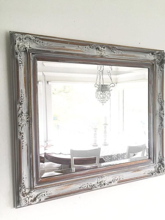 French Ornate WALL MIRROR, Antique Wood Gold with White Bathroom Mirror Farmhouse Style - Hallstrom Home - 3