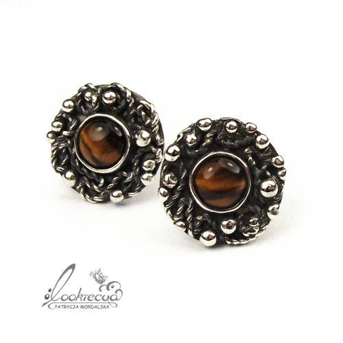 srebrne sztyfty,okrągłe,zobione,retro,vintage - Kolczyki - Biżuteria w ArsNeo