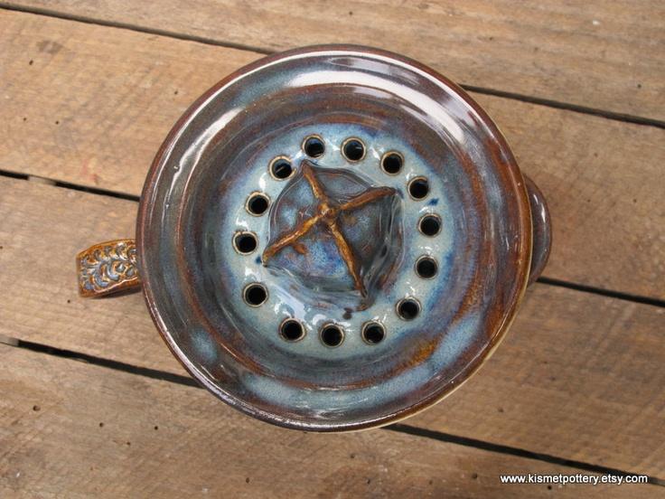 Ceramic Citrus Juicer in Beautiful Rustic Blue. $40.00, via Etsy.