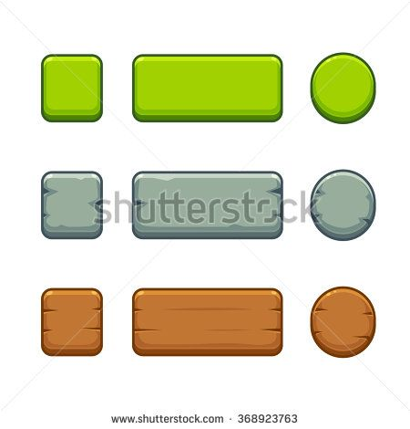 Cartoon game buttons set in different styles - green, stone and wood. Vector game interface assets.