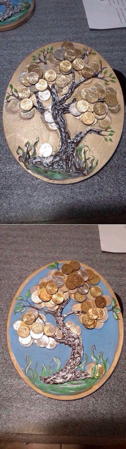 ДЕНЕЖНОЕ ДЕРЕВО !!!  **Идея для панно: основа, соленое тесто - ствол, монетки, акрил/краски, акрил/лак.