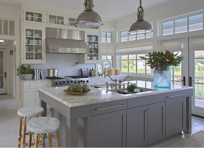 Best White Kitchen With Gray Island This White And Gray 640 x 480