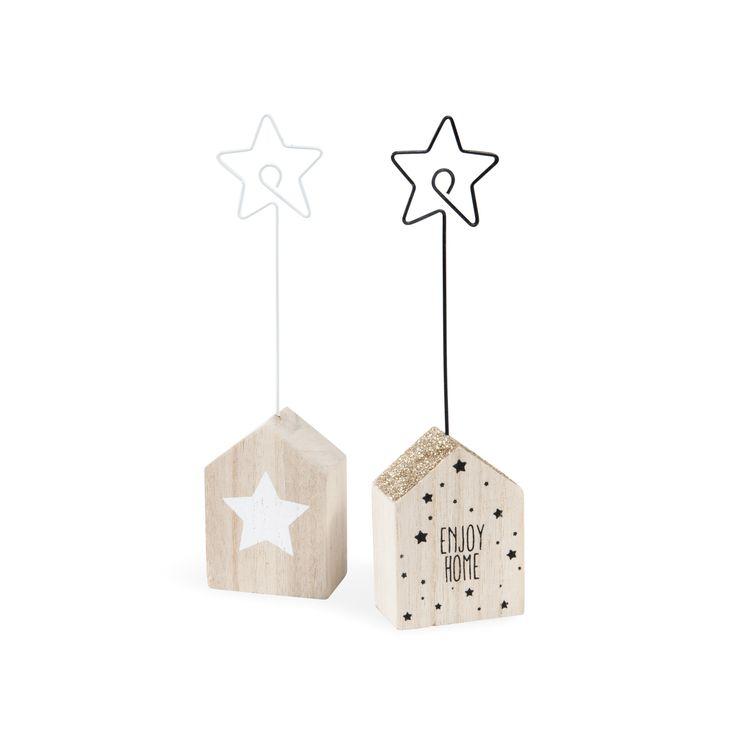 2 porte-noms maison/étoile en bois YELENA   - Vendu par 8
