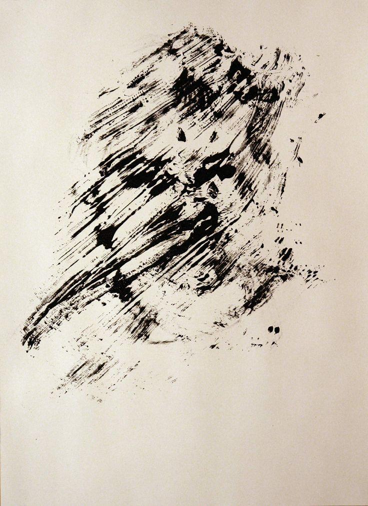 Portrait of a boy, monoprint on paper