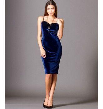 Βελούδινο Φόρεμα με Ραντάκι και Δαντέλα - Μπλε Ρουά  ba92c9a03b3
