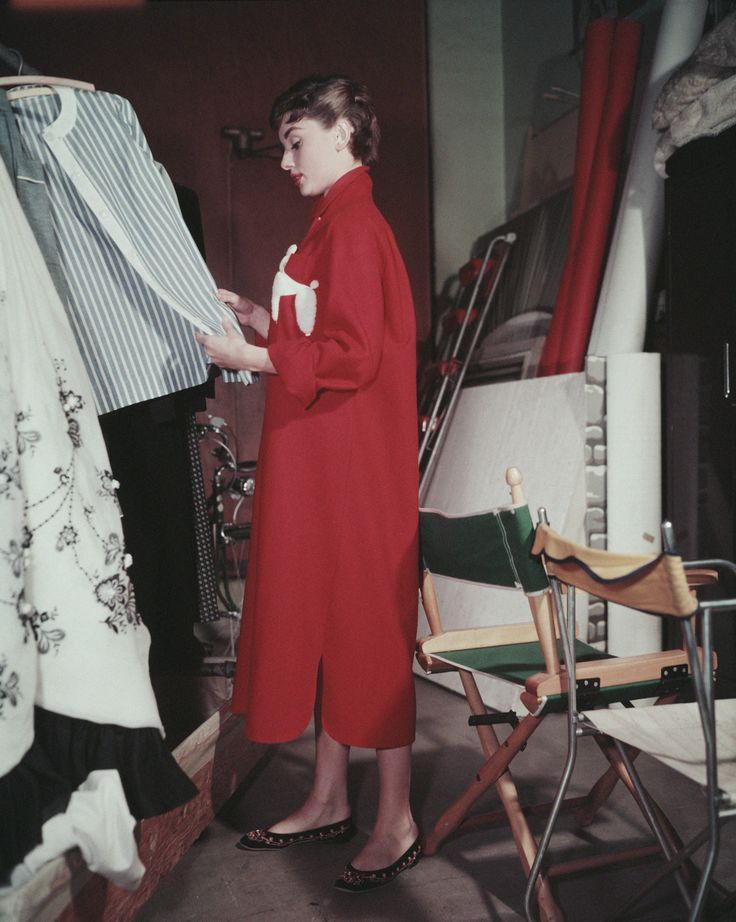 Audrey Hepburn getting ready for a photo shoot including pieces from Sabrina