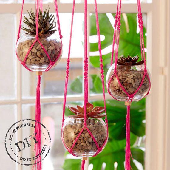 Urban Crafter Pink Macrame Hanging Planters DIY Kit